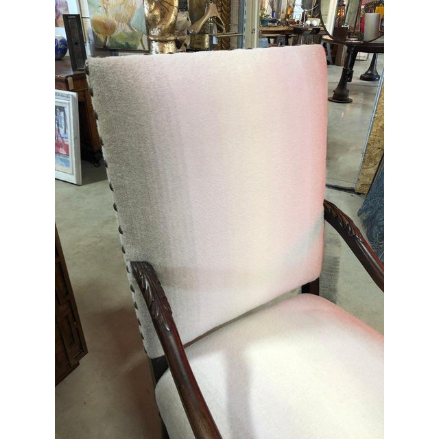 Traditional Antique Wool Upholstered Arm Chair For Sale - Image 3 of 7