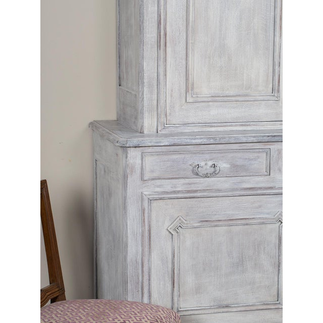 Mid 19th Century Antique French Painted Oak Louis Philippe Buffet a Deux Corps Cabinet For Sale In Houston - Image 6 of 11