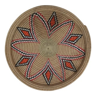 Vintage Mid-Century Tribal Woven Platter For Sale