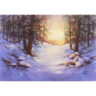 'Snowy Mountain Sunrise', by Harold Booth, Circa 1975, Museum of Fine Arts, Boston For Sale
