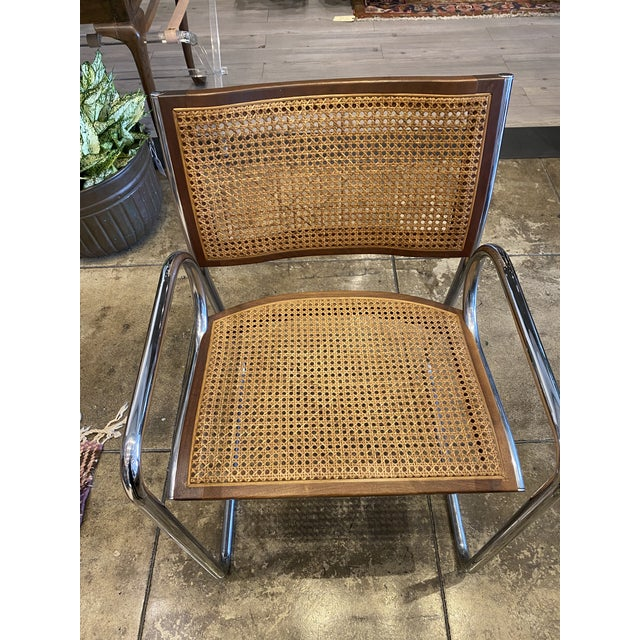 Mid-Century Modern Vintage Chrome and Cane Chairs - a Pair For Sale - Image 3 of 9