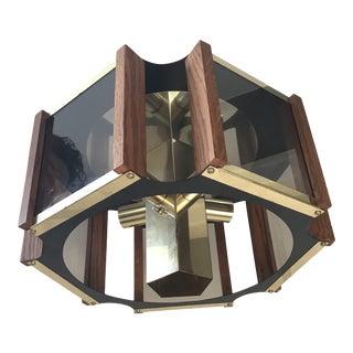 1970s Mid Century Modern Brass Smoked Glass and Teak Chandelier by Fredrick Ramond For Sale
