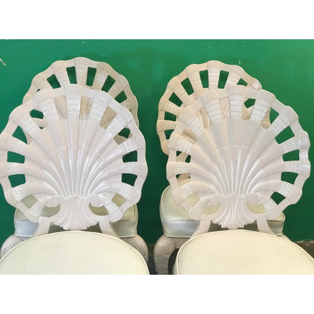 Vintage Palm Beach Regency Pink Brown Jordan Grotto Shell Back Chairs-Four For Sale - Image 10 of 13