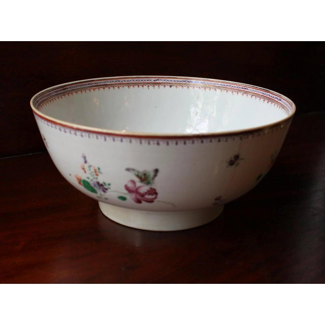 """An elegant c. 1770-90 Neoclassical Chinese export punch bowl, Famille Rose. 8 7/8"""" dia. Note the elegant butterflies on..."""
