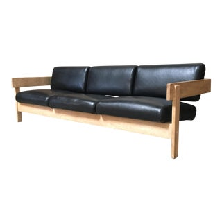 Mid Century Modern Metropolitan Black Leather Oak Sofa For Sale