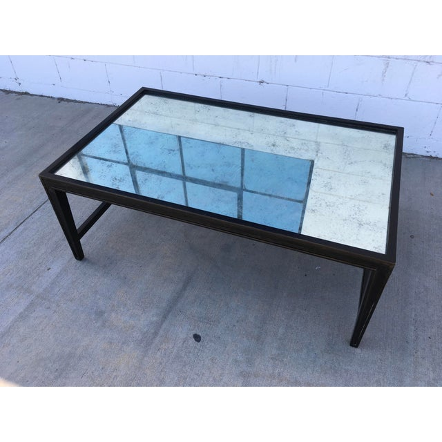 Antique Mirror Top Coffee Table With Ebonized Black Walnut Frame For Sale - Image 10 of 13