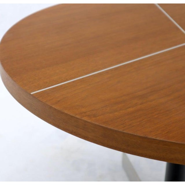 Aluminum Inlay Walnut Top Tri Legged Side End Table For Sale - Image 10 of 12