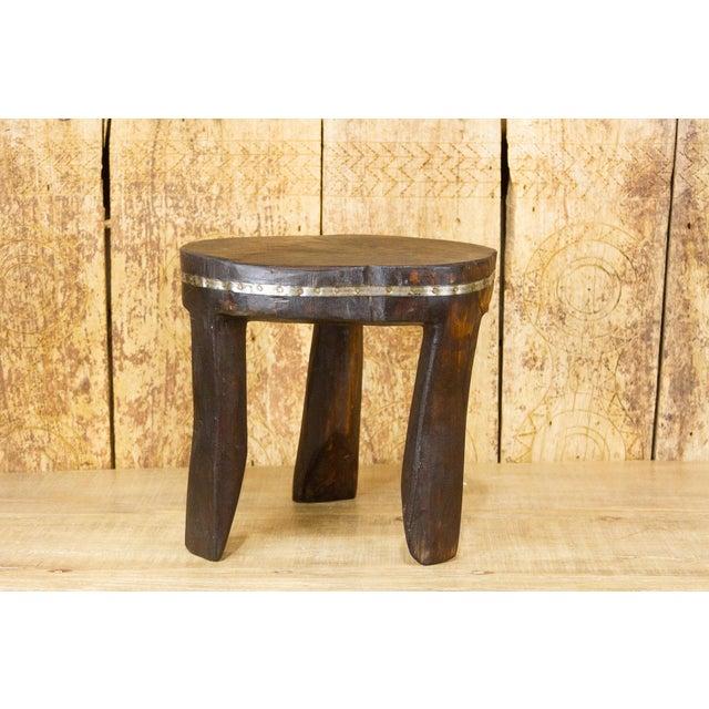 Wood Ishann Metal Strap Naga Tripod Stool For Sale - Image 7 of 7