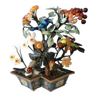 20th Century Asian Antique Jade & Glass Flower Arrangement in Cloisonne Base For Sale