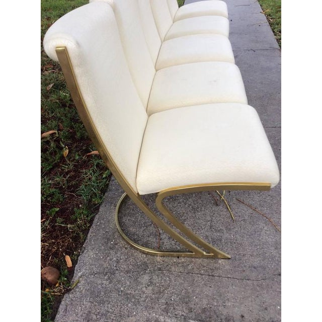 Hard to acquire set of six vintage Hollywood Palm Beach Regency brass Pierre Cardin Cantilevered Z back style side dining...