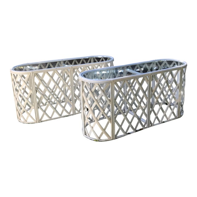 Bamboo Oval Tables - A Pair - Image 1 of 9