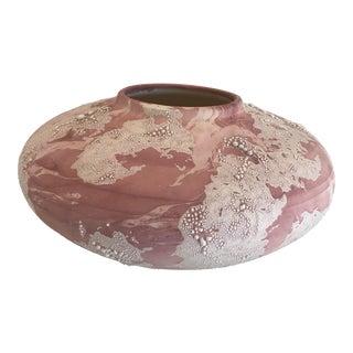 Vintage Postmodern Pink Studio Pottery Vase For Sale