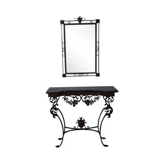 Antique Marble & Cast Iron Console Table & Mirror For Sale