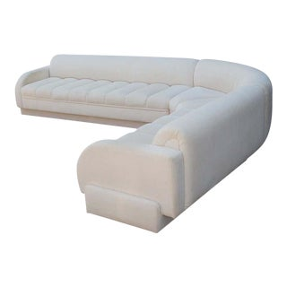 1970s Mid-Century Modern White Channel Seat Sectional Sofa in White by Directional For Sale