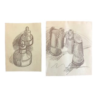 1970s Vintage James Bone Still Life Drawings - A Pair For Sale