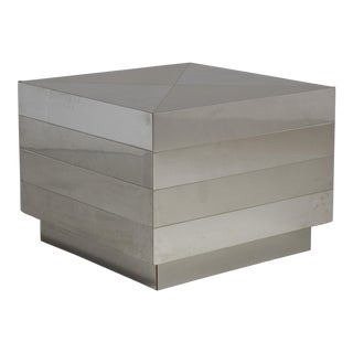 A Brushed and Polished Steel Wrapped Side/End Table 1980s For Sale