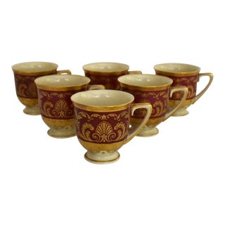 Heinrich and Co. Selb H & C Bavaria German Porcelain Red and Gold Encrusted Demitasse Cup - Set of 6 For Sale