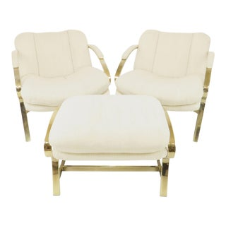 1960s Carson's Brass Lounge Chairs and Ottoman - 3 Pieces For Sale