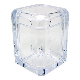 1970's Vintage Lucite Ice Bucket With Swivel Lid For Sale