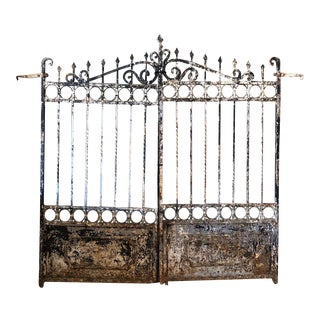 "Italian Antique Wrought Iron Gate- 85""h For Sale"