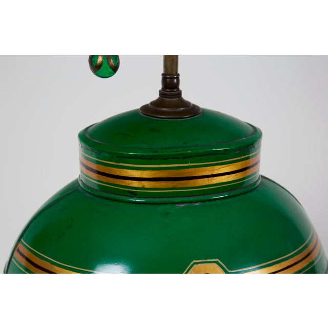 Early 20th Century Apple Green Tea Canister Lamp #1 For Sale - Image 4 of 6