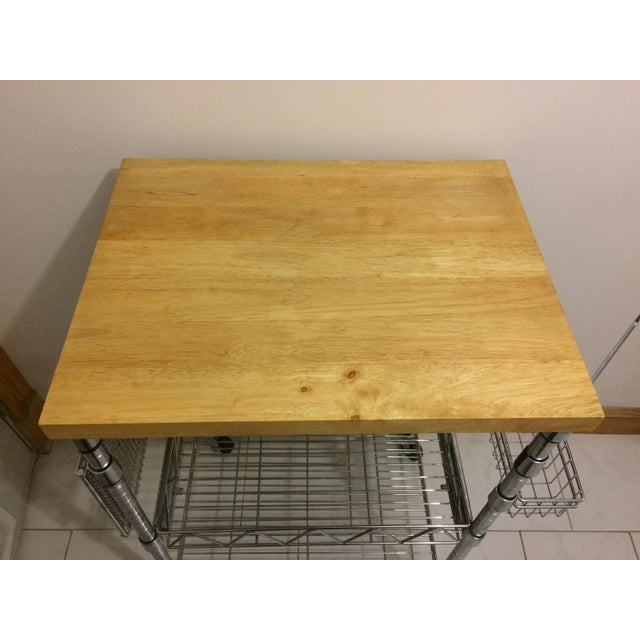 Kitchen Cart With Wood Butcher Block Top For Sale - Image 10 of 13