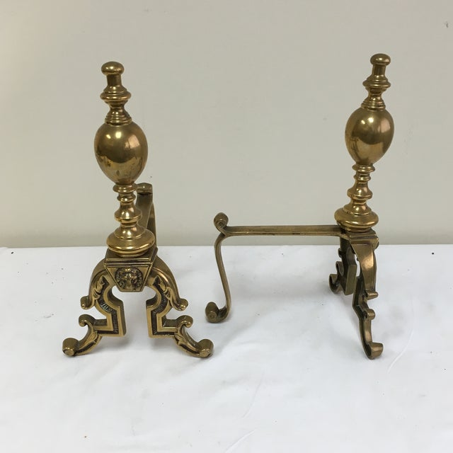 English Brass Lion Andirons - A Pair - Image 3 of 6