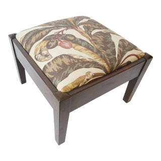 Mid-Century Footstool Low Bench Mahogany With Palm Frond Motif Upholstery For Sale