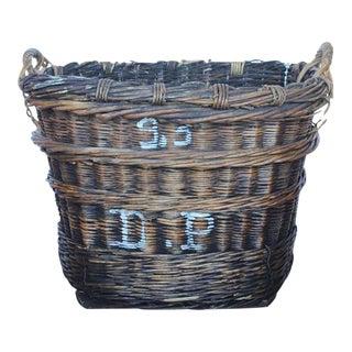 Large French Vineyard Harvest Wicker Basket For Sale