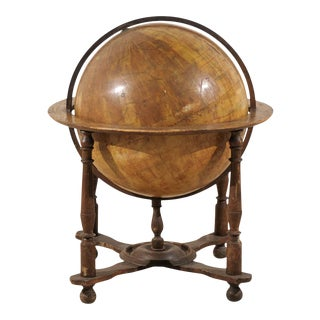 19th Century Italian Heavily Foxed Globe on Wood Stand For Sale