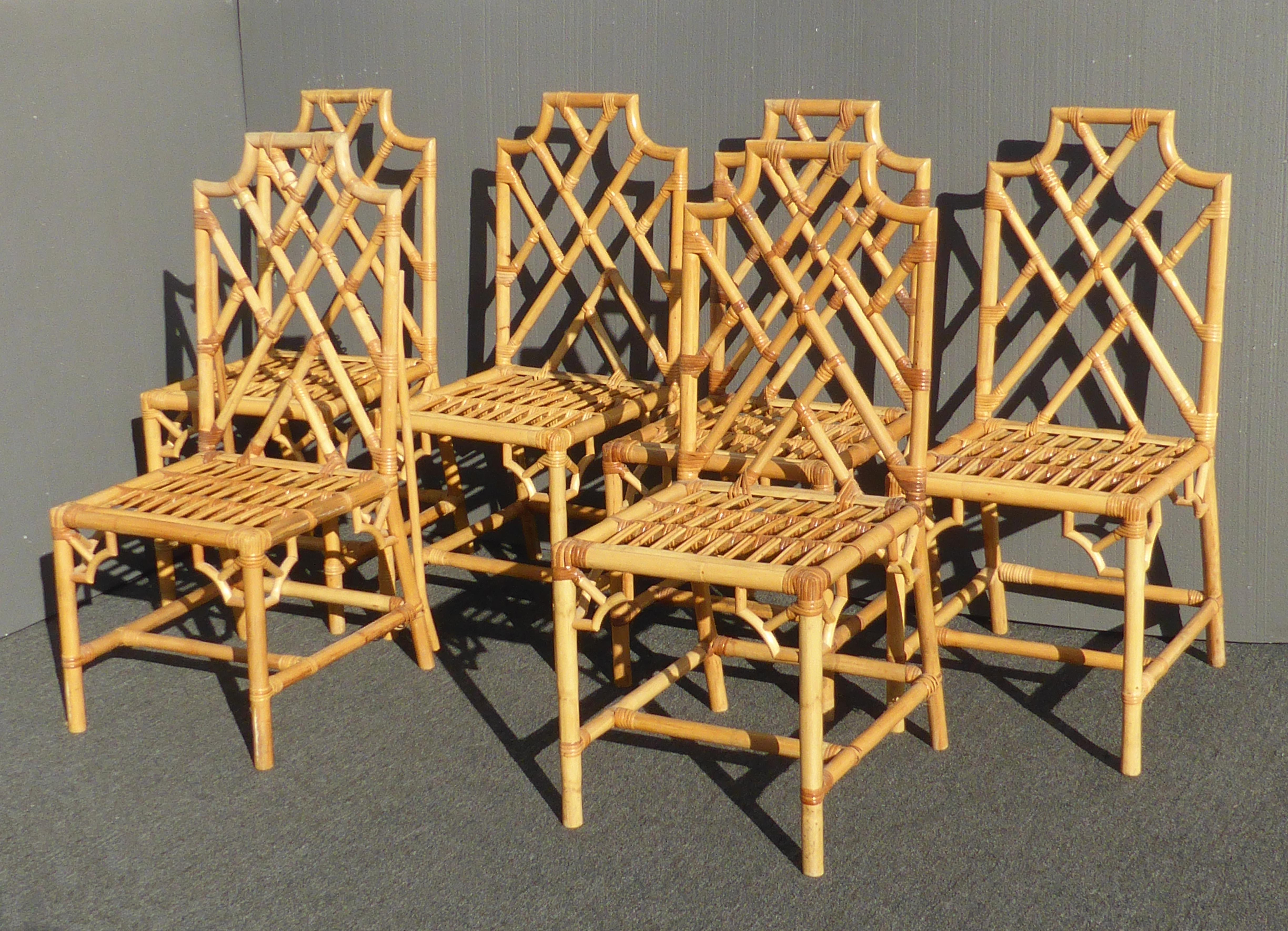 Set Of Eight Vintage Rattan Chinese Chippendale Style Chairs   Image 3 Of 11
