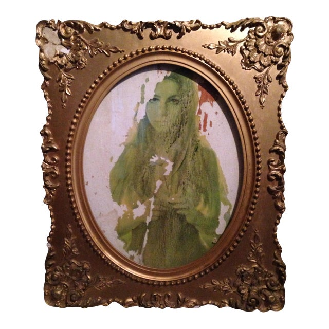 Vintage Victorian Framed Flower Girl Portrait - Image 1 of 6