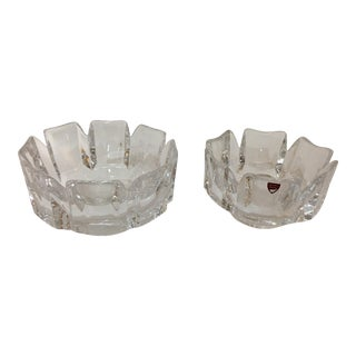 Orrefors Glass Serving Bowls - a Pair For Sale