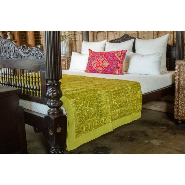 Glass Green Sheesha Coverlet For Sale - Image 7 of 8