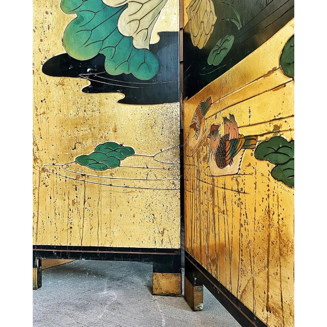 1950s Vintage Gold Chinese Room Divider For Sale - Image 4 of 8