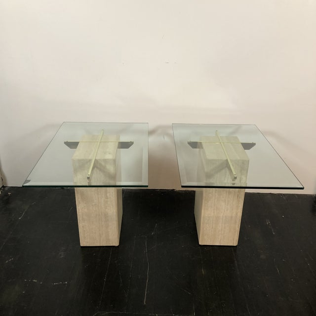 Mid-Century Modern 1970s Artedi Italian Marble Side Tables - a Pair For Sale - Image 3 of 13