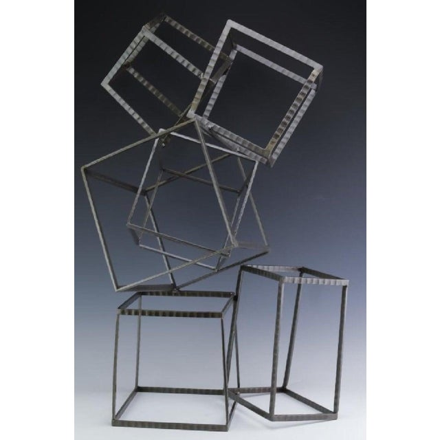 Mid 20th Century Modern Forged Iron & Travertine Quadrilaterals Sculpture For Sale - Image 5 of 11