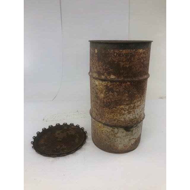 Vintage Industrial Metal Oil Barrel With Lid For Sale - Image 4 of 13