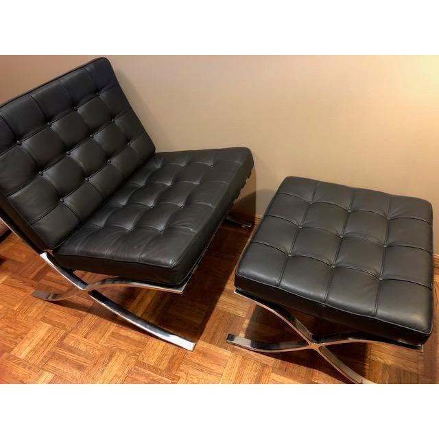 Animal Skin Barcelona Mies Van Der Rohe Pavilion Chair & Ottoman For Sale - Image 7 of 10