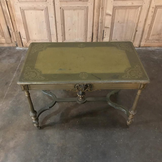 Wood 19th Century French Louis XVI Painted End ~ Library Table For Sale - Image 7 of 12