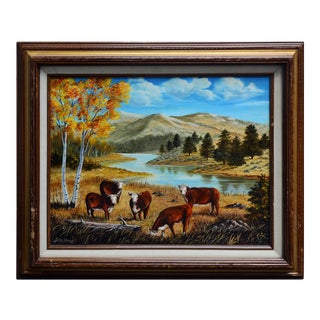 Grazing Cows Painting