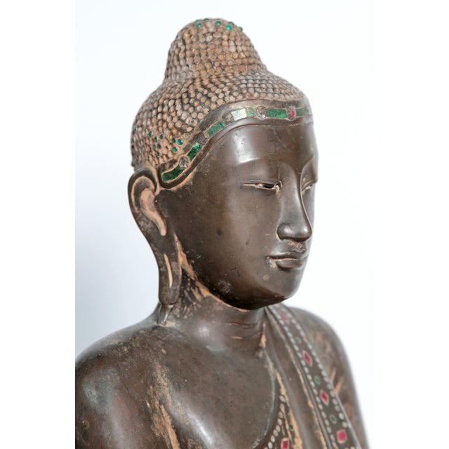 Gold 19th Century Patinated and Gilt Bronze Burmese Buddha For Sale - Image 8 of 11