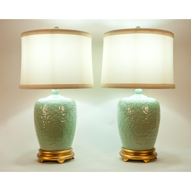 Mid Century Porcelain Lamp / Gilded Wooden Base - a Pair For Sale - Image 9 of 13
