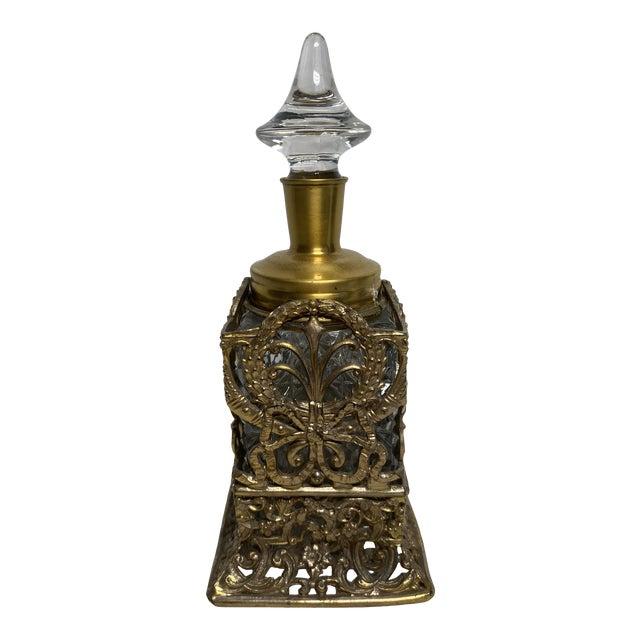 1930s Vintage Art Nouveau Goldtone & Crystal Apollo Perfume Bottle For Sale