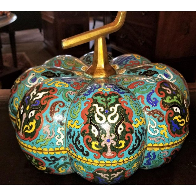 Chinese Cloisonne Pumpkin Lidded Box For Sale In Dallas - Image 6 of 12