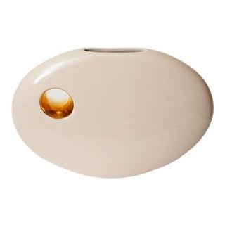 Jaru Sculptural Signed Ceramic Vessel With Gold Plated Ceramic Hole For Sale