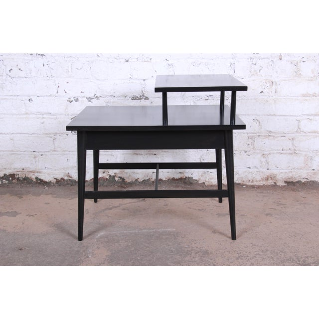 Planner Group Paul McCobb Planner Group Two-Tier Ebonized End Table or Nightstand, 1950s For Sale - Image 4 of 10