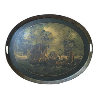 Antique Large Ship Scene Tole Tray For Sale