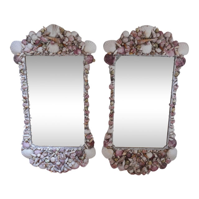 Chippendale Shell Encrusted Mirrors - a Pair For Sale
