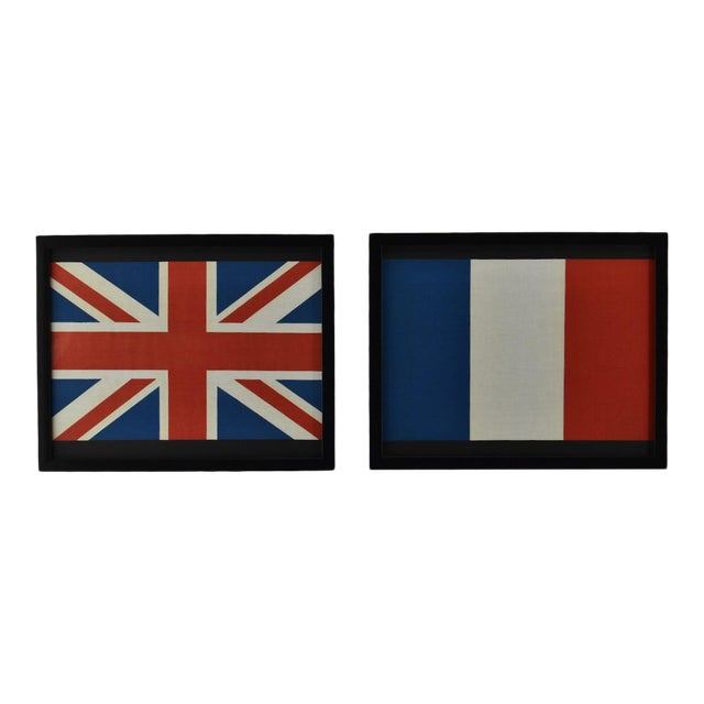 Pair of Framed Flags British, England, Uk & a Usa For Sale